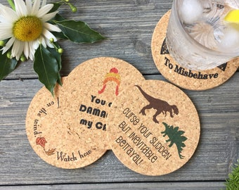 Firefly Serenity Inspired Cork Coaster Set of 4 for Browncoats Aiming to Misbehave