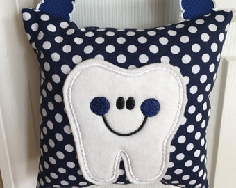 Tooth Fairy Pillow- Navy Blue with White Polka Dots and Navy Blue Ribbon - Kids Pillow - Kids Gift