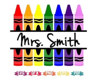 Crayon Monogram SVG, Crayon SVG, School SVG, Teacher svg, svg, svg Files, Kindergarten svg, Cut File, Crayon Cut File, Crayon Monogram