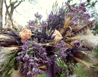 dried flower bouquet, lavender bridal bouquet, lavender and wheat bouquet, wheat bouquet, purple bridal bouquet, ultraviolet bouquet, rustic