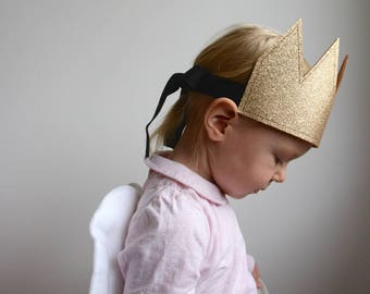 Kid's Glitter Crown, Gold Crown, Dress Up, Imaginative Play, Kid's Party Hat