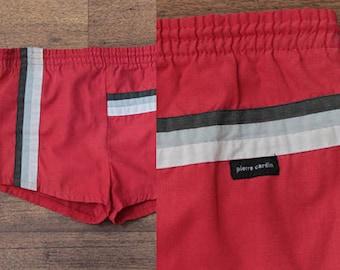 70s Pierre Cardin Swim Shorts // Vintage Swimming Trunks Striped Swimsuit - Boy's Large