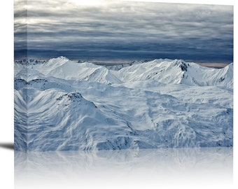 Snow Covered Mountain Peaks Art Print Wall Decor Image - Canvas Stretched Framed