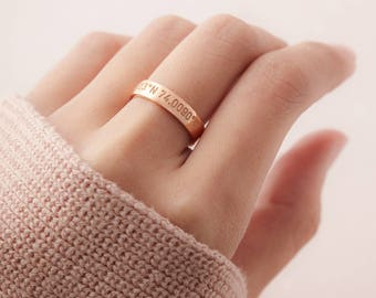 Ring with coordinates - Anniversary ring - Coordinate jewelry - Lat long ring - Gold coordinate ring - Longitude latitude ring gift for grad