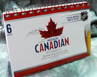 Spiral Notepad/Sketchpad from Recycled Moslon Canadian 6-Pack Beer Carton