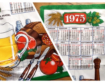 Calendar dish towel Germany Vintage 1975 calender tea towel German food and Calender wall decor cotton printed beer and Braten wurst Bavaria