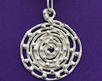 Spiral Design Round Pendant - Handcrafted Circle Pendant - Spirals - Handmade Spirals - Round Silver Pendant - Handcrafted Jewelry Spirals