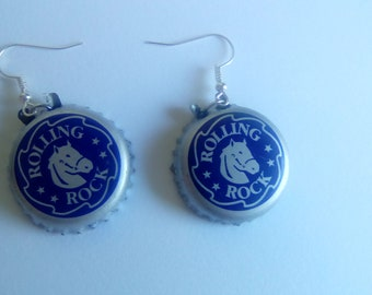 Rolling Rock Bottle Cap Earrings