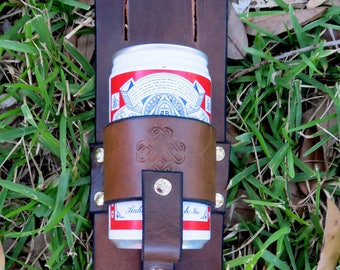 Hand Crafted and Tooled Leather Beer Can Holster For Your Belt & Ties Your Leg. FREE SHIPPING !!