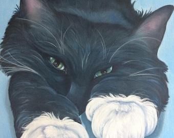 ORIGINAL cat oil painting