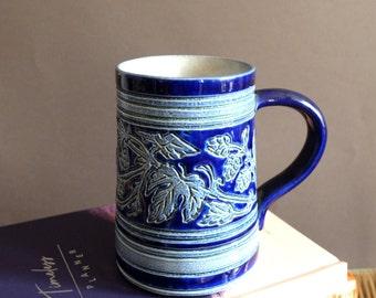 Tasse en grès , bleu roi, mug vintage
