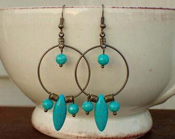 Brass Hoop and Turquoise Beaded Dangle Earrings
