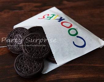 Cookie Bags, Kids cookie bags, Bakery bags, Treat bags, Wax bags, Food bags, Kids Party Cookie Bags