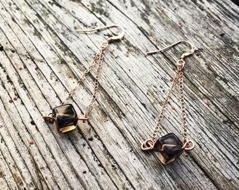 Smokey Rose Gold Geometric Earrings