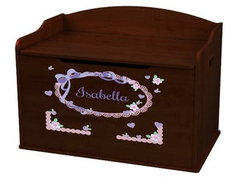 Personalized Lacey Bow Espresso Toy Box Bench