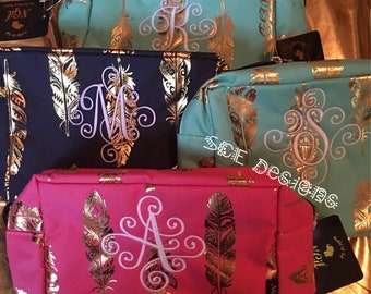 Cosmetic Bags with scrolly monogram initial-embroidery- travel cosmetic bag- Mothers make -up bag