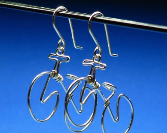 BICYCLE earrings. Bike Jewelry . Cycling Gift. Mountain Bike Earring .Sports Jewelry. Sterling Silver Gold Bikes. Niobium Bikes
