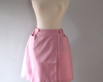 60s pink skirt - vintage deadstock pastel bubblegum retro mod tennis wrap miniskirt high waisted buckle cotton dacron koratron - xs small