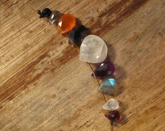 9 Gemstone Beads, Briolette Mix, 9 Beads, Spinel, Labradorite, Carnelian, Iolite, Moonstone, Amethyst and Rhodolite Beads (B-Mix14)