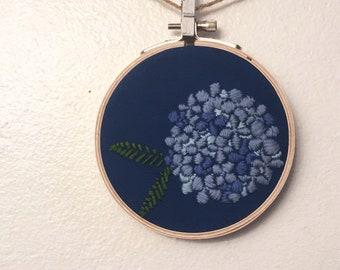 Blue Hydrangea Embroidery in Hoop