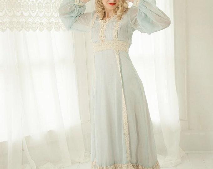 Vintage light blue maxi dress, boho white long sheer sleeve, empire waist cotton Victorian Renaissance Gunne Sax style, 1970s, XS S