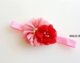 Valentine headband, baby girl headband, pink/red chiffon headband, fold over elastic headband, hair accessories, pink headband, hair clip