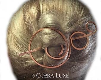 Copper Hair Barrette Bun Holder Hair Slide Copper Hair Clip Rose Gold Hair Stick Long Fine Hair Metal Hair Pick Gift for Women ChatterCats