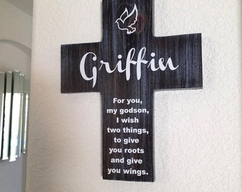 Godson cross etsy godson cross personalized with his name on pine wood w dove roots wings negle Images