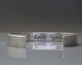 Sterling silver personalized mens bracelet, engraved cuff, Mens cuff made to order, Mens jewelry