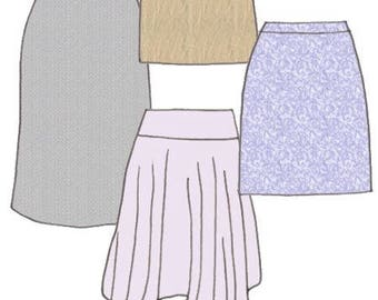 Plus Size Girls Flare Skirt And Handkerchief Style Skirt PDF Sewing Pattern, Sizes 8-10-12