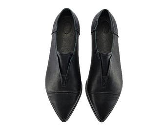 Black handmade leather flats, Stella