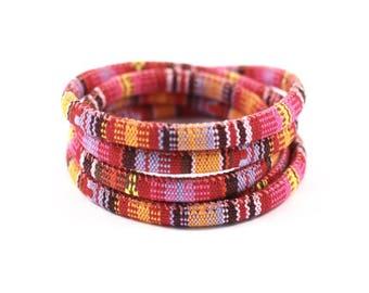 1 m cord ethnic 6mm Orange/red pattern