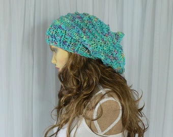 Summer Beanie Rainbow Hat Festival Hat Green Hat  Burning Man Clothing Rainbow Pride Pixie Hat Slouchy Hat Slouch Beanie