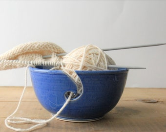 ceramic yarn bowl, simply elegant crochet bowl,  pottery wool bowl, wheelthrown yarn bowl, knitter's bowl, unique yarn bowl