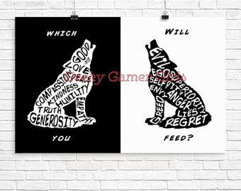 Two Wolves quote | The one you feed | Wolf | Typography Two Wolves Fable