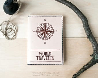Travel Passport Cover Holder Case, Personalized Custom Leather Passport Cover, Compass Rose Leather Passport Wallet, Wanderlust Travel Gift