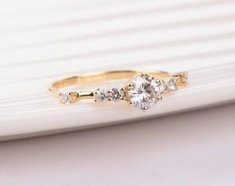 Minimal Forever One Moissanite Engagement Ring in 14k Yellow Gold, Diamond Alternative engagement ring,