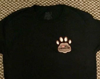 I love my dog t-shirt choose your breed.  Dog paw embroidered with your favorite breed.  Dog lover gift