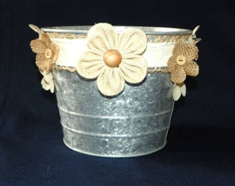 Rustic Wedding 6 Inch Metal Bucket in Grey Galvanized with Wood Centered Burlap Flowers, Just add Potted Plants for a Beautiful Centerpiece