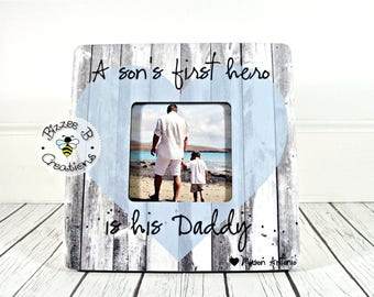 ON SALE Personalized Picture Frame For Daddy, First Father's Day Gift, Dad and Son Gift, Daddy Son Frame, A Son's First Hero, Daddy Hero