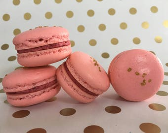 Raspberry Champagne Macarons