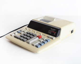 Vintage Sharp Electronic Calculator, Mid Century Adding Machine