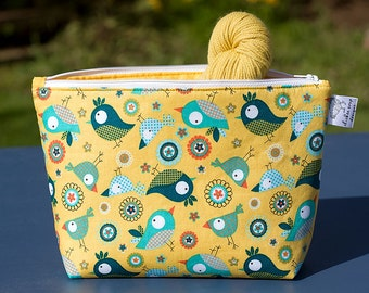 "Wide Mouth Zipper Project Bag (Wedge Style):  Perfect for Knitters, Crafters, Crochet (6.5""H, 10""W, 3"" base)"