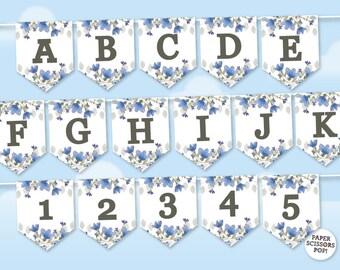 Flowers Birthday Banner, Garden Wedding Garland, Summer Wedding Banner, Miss to Mrs Garland Floral Garland Photo Proo Alphabet Template