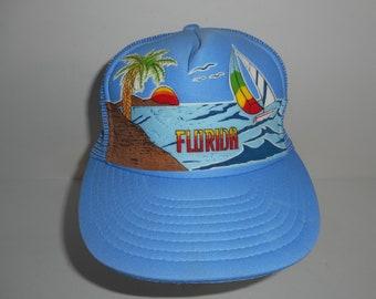 Vintage Baby Blue Florida Trucker Snapback Hat Cap