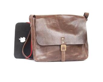 Mens Messenger bag, leather bag , shoulder messenger bag ,Brown cross body bag, leather laptop bag , laptop bag, messenger bag , -