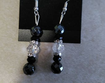 Earrings- Hematite/Clear/Black Faceted beads with silver rhinestone spacers