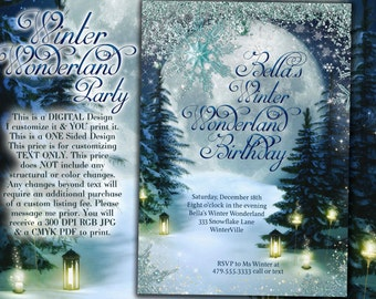 Winter Wonderland Party, Winter Invitation, Winter Party Invitation, Snow Invitations, Snowy Wood Invitation