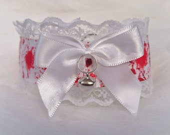 Blood Splatter Collar with Bow