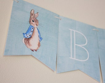 Peter Rabbit. Peter Rabbit Theme. Banner. Baby Shower Decorations. Custom Banner. Babies First Birthday. Birthday Party. Party Supplies. Fun
